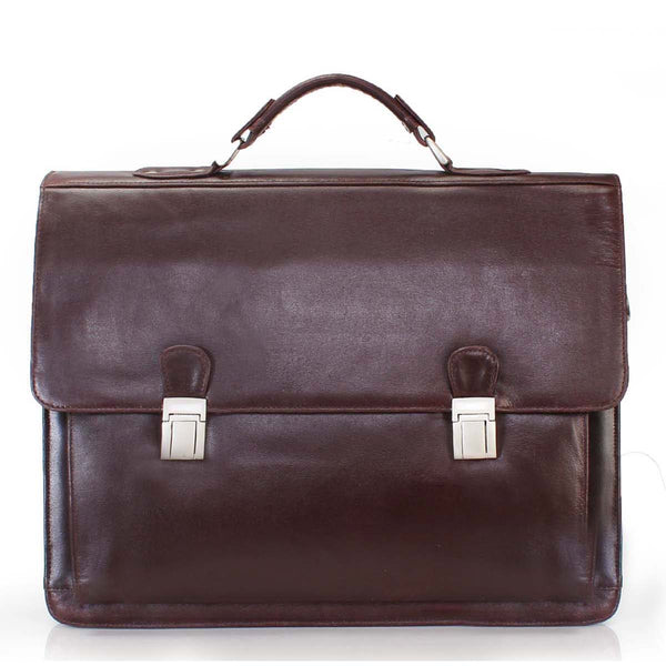 Brown Flapover Briefcase For Men By Brune