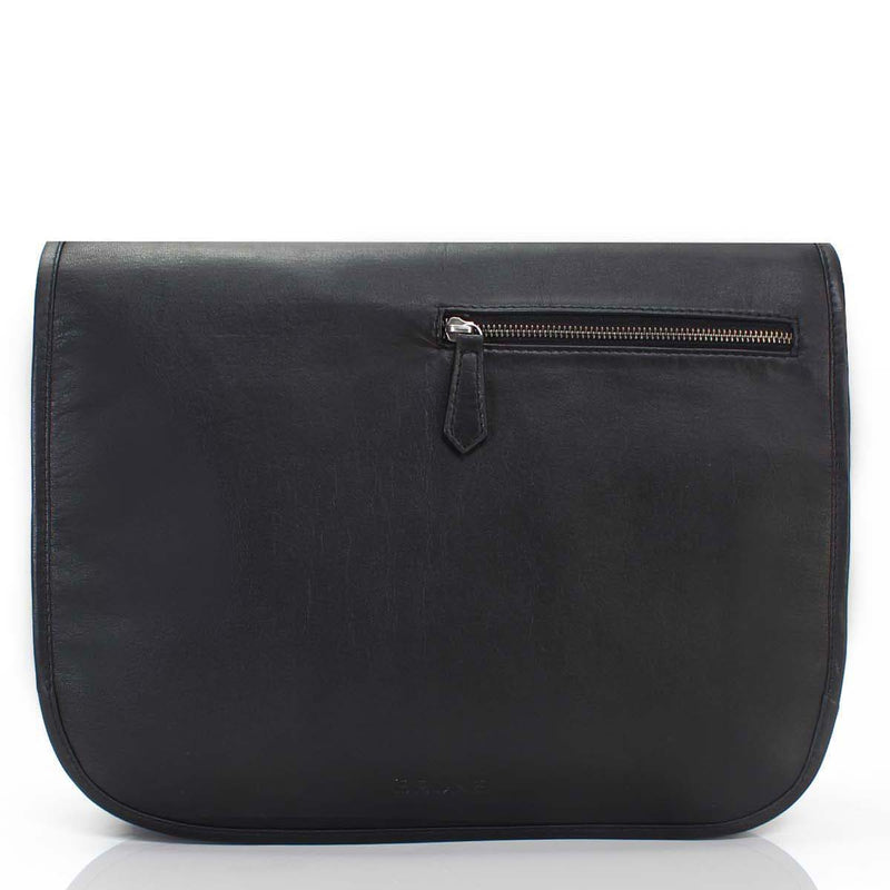 Brune Black Leather Flapover Messenger Bag