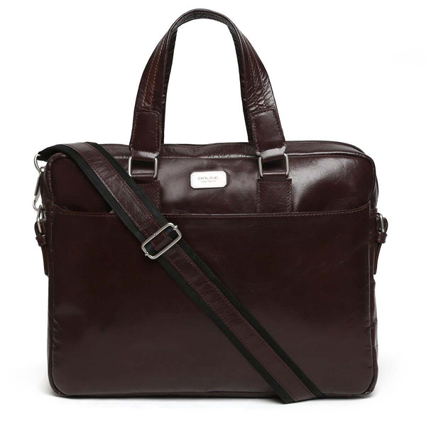 Wine Modern Look Leather Office Laptop Bag By Brune