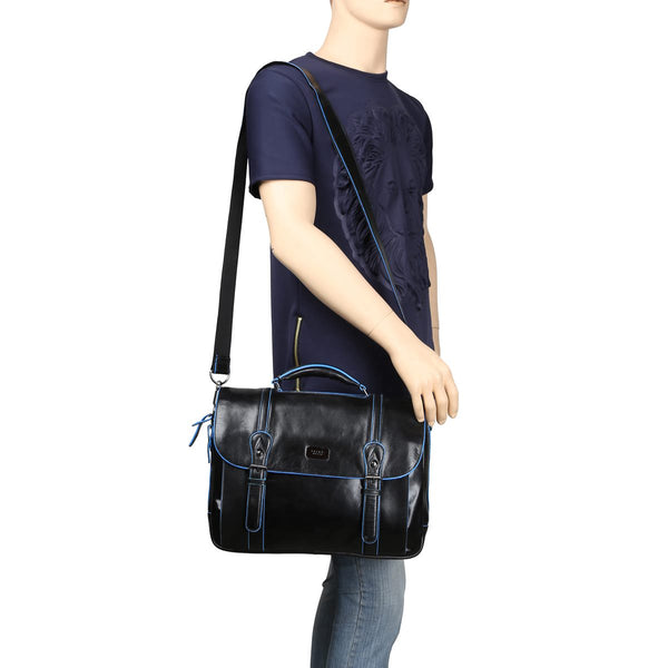 Brune Flap Over Black With Leather Laptop Office Bag