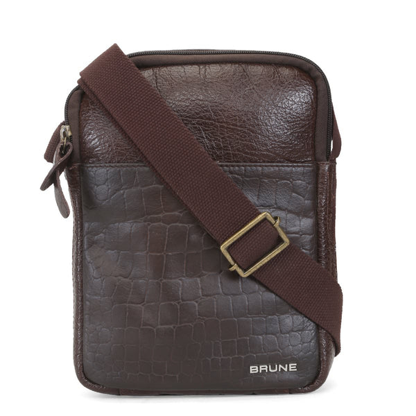 Brown Croco Print Leather Crossbody Bag By Brune