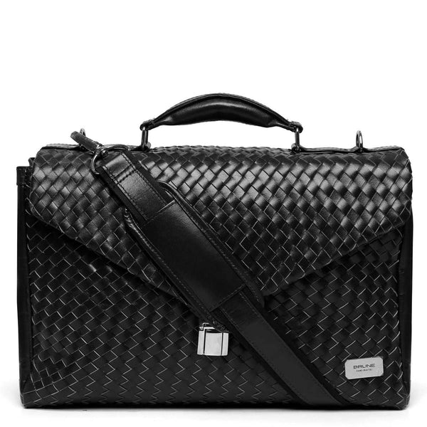 Brune Full Weaved Black Leather Office Briefcase
