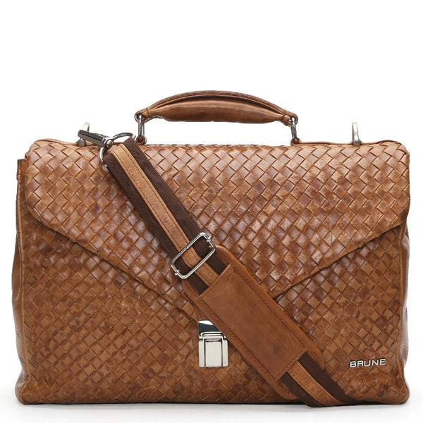 Brune Full Weaved Tan Leather Office Briefcase
