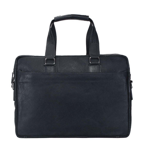 Brune Black Safiano Leather Laptop Bag