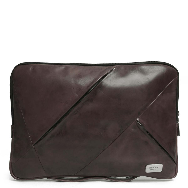 Graphite Multi-Zip Soft Leather Laptop Sleeve By Brune