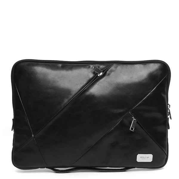 Black Multi-Zip Soft Leather Laptop Sleeve By Brune
