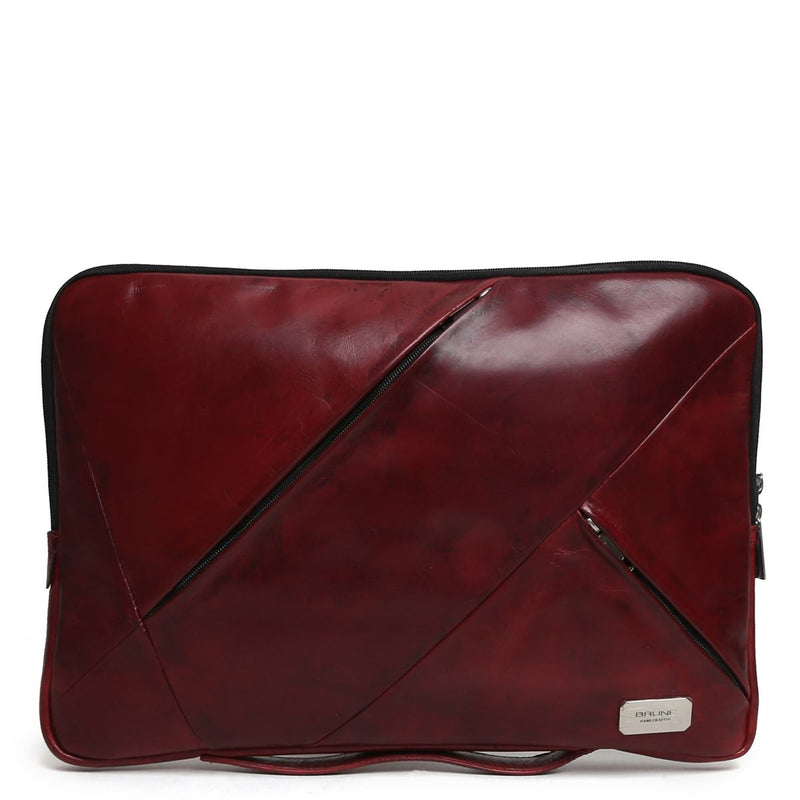 Wine Multi-Zip Soft Leather Laptop Sleeve By Brune