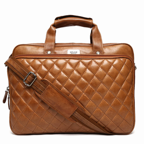 Brune Diamond Stitched Tan Leather Laptop Bag