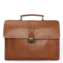 Tan Full Grain Leather Office Bag / Laptop Briefcase By Brune