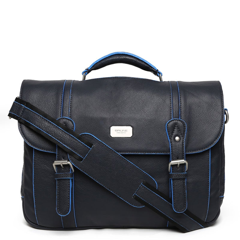 Blue Contrast Edge Flapover Leather Office Bag By Brune
