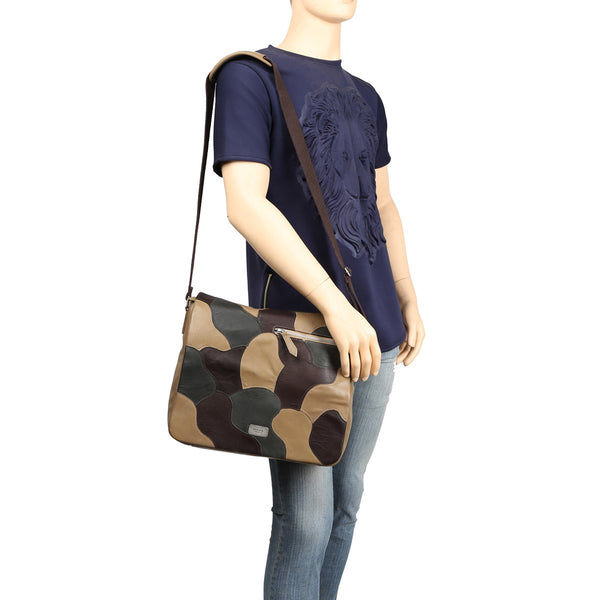 Dark Beige Camo Unisex Leather Messenger Bag By Brune