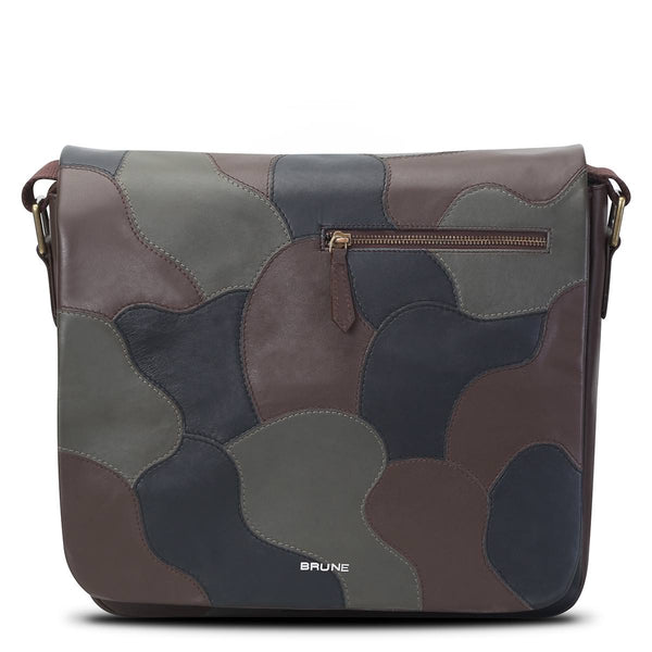 Brune Camoflage Tri-Color Genuine Leather Laptop Messenger Bag For Men