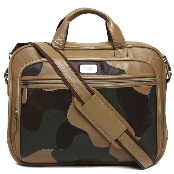 Beige Camo Leather Office Laptop Briefcase By Brune