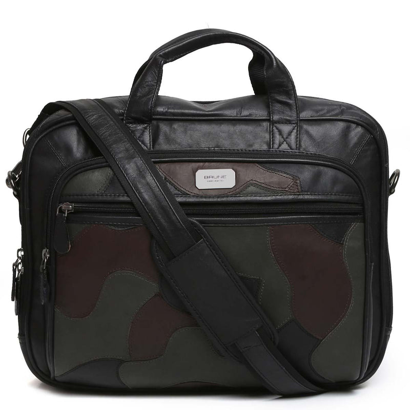 Black Camo Leather Office Laptop Briefcase By Brune