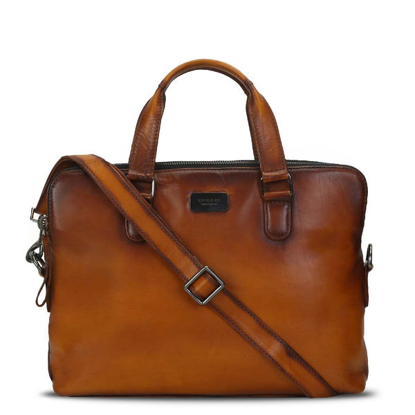 Tan Hand Painted Leather Office Briefcase With Zip Closure By Brune