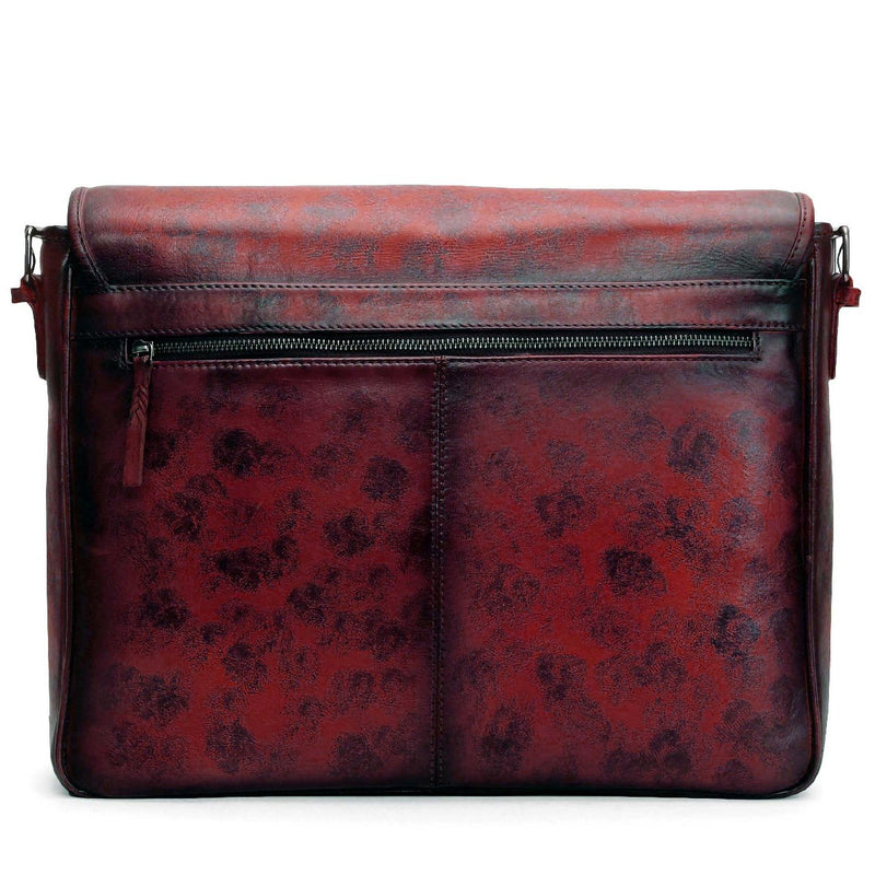 Wine Smudged Print Leather Messenger Bag By Brune