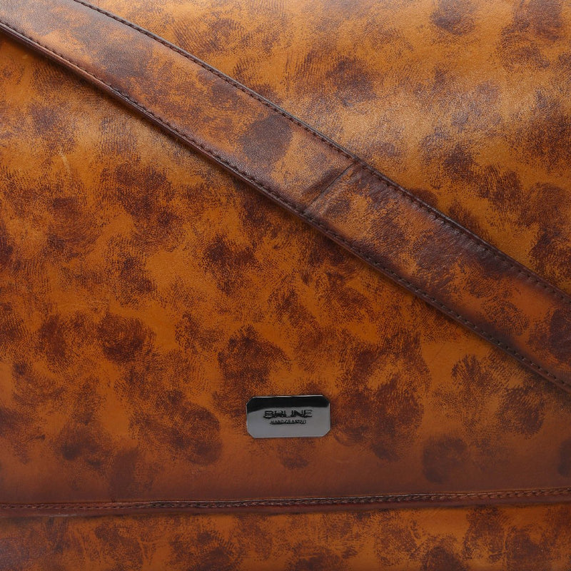 Tan Smudged Print Leather Messenger Bag By Brune