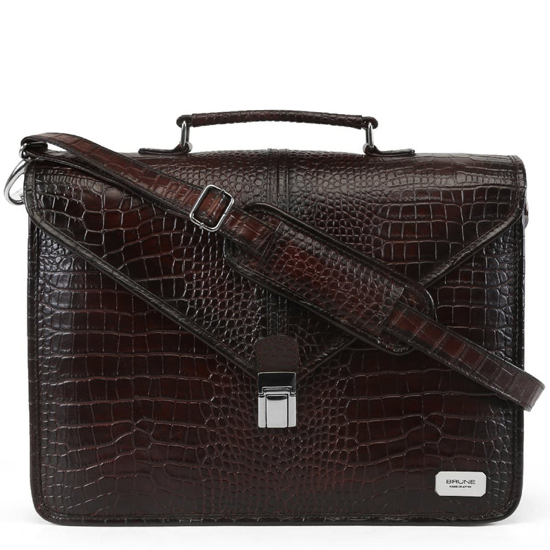 Brune Brown Croco Print Genuine Leather Laptop Briefcase For Men