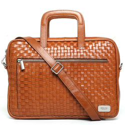Tan Hand Weaved Leather Portfolio Bag By Brune