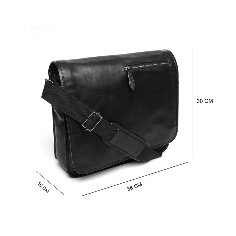 Brune Black Leather Flapover Messenger Office Bag
