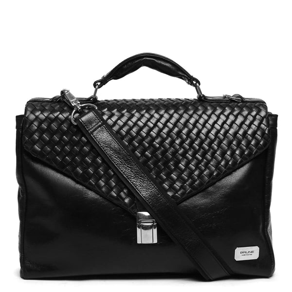 Black Hand Weaved Flapover Crumpled Leather Office Bag By Brune