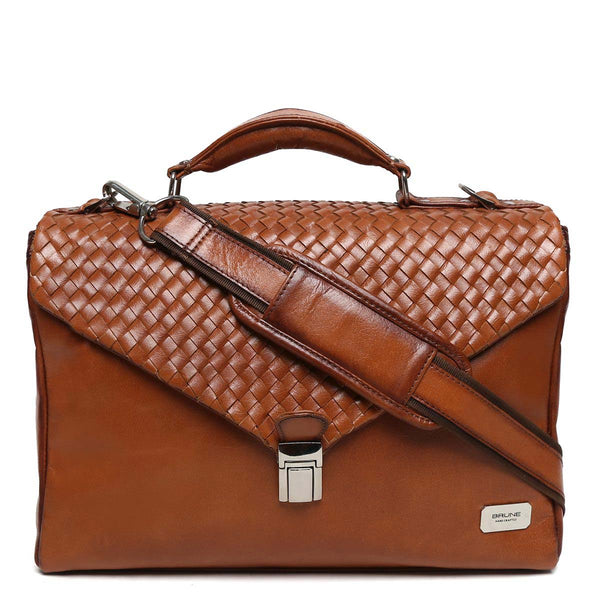 Tan Hand Weaved Flapover Leather Office Bag By Brune