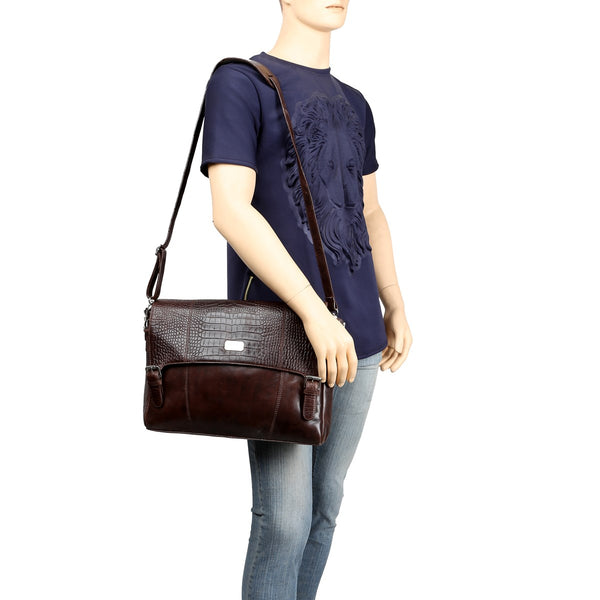 Dark Brown Croco Print Flap Leather Messenger Bag By Brune