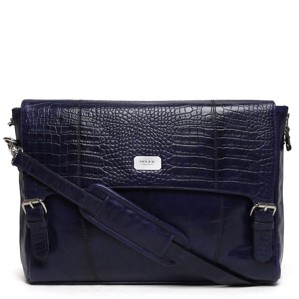 Navy Croco Print Flap Leather Messenger Bag By Brune