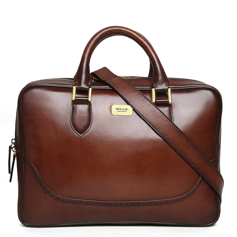 Brown Brogue Detail Leather Laptop Office Briefcase By Brune