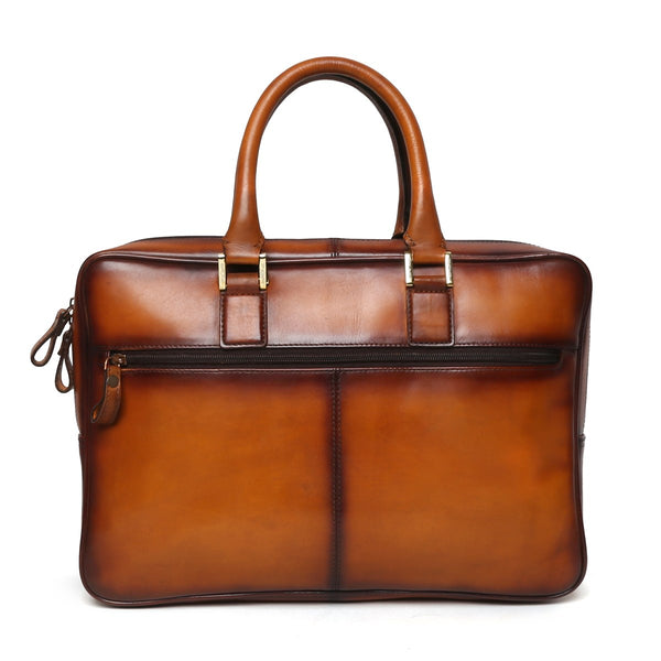 Tan Elegant Look Office Leather Briefcase By Brune