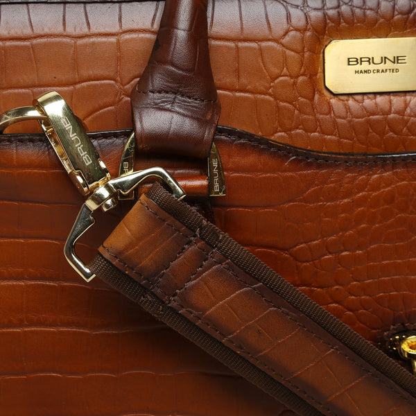 Tan Croco Burnished Leather Laptop Briefcase By Brune
