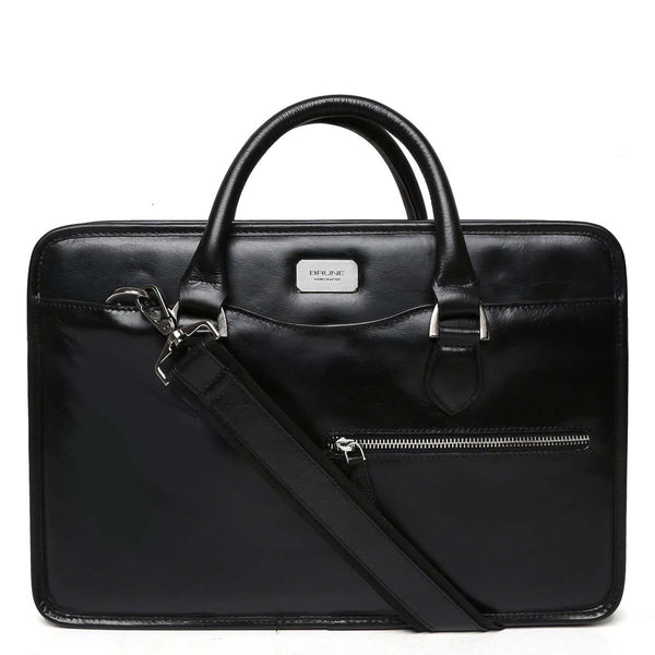 Black Classic Full Grain Leather Laptop Briefcase By Brune