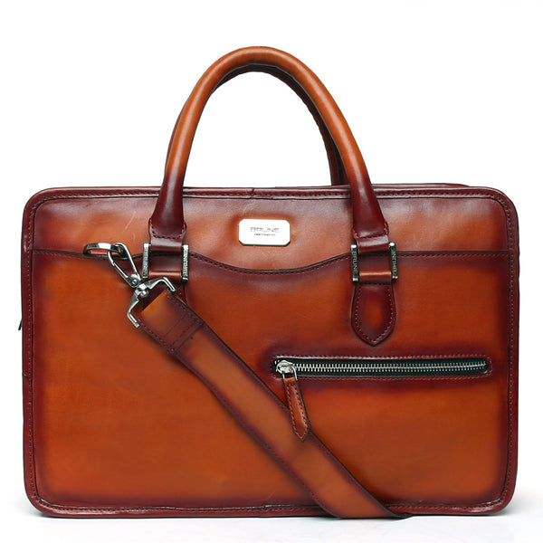 Tan Classic Full Grain Leather Laptop Briefcase By Brune