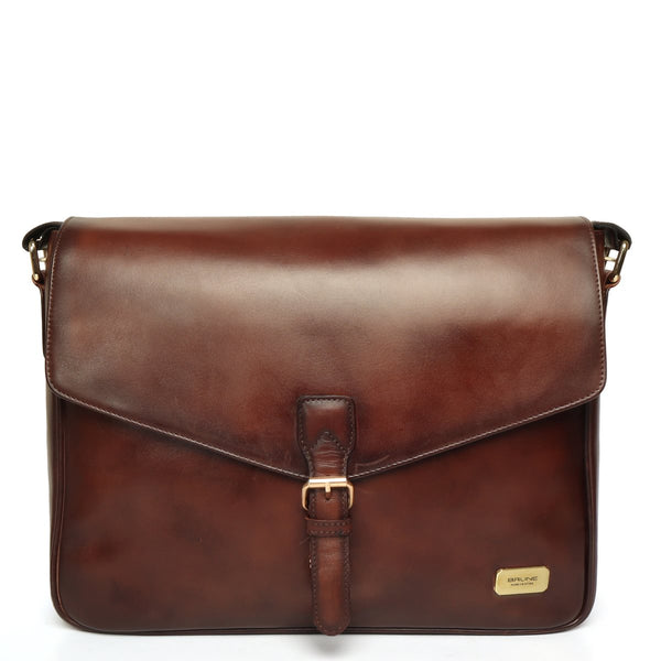 Brown laptop messenger bag with flap opening and push buckle lock by brune