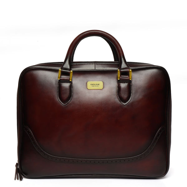 Brown Brogue Detail Leather Laptop Office Briefcase With Extra Compartment By Brune
