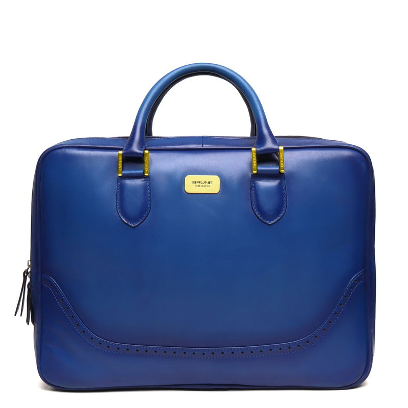 Blue Brogue Detail Leather Laptop Office Briefcase With Extra Compartment By Brune
