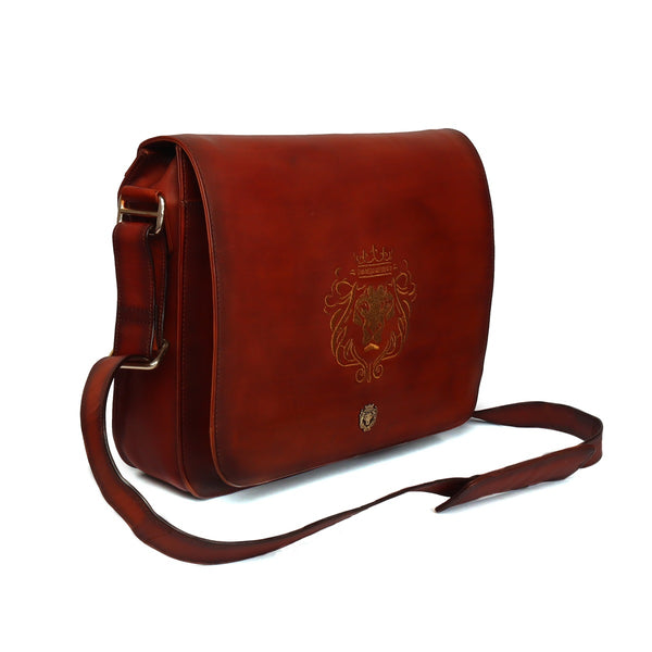 Tan Leather Flap-Over Messenger Bag by Brune & Bareskin