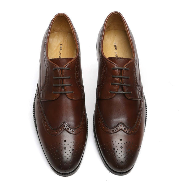 Dark Brown Hand Finished Full Brogue Wingtip Formal Shoes By Brune