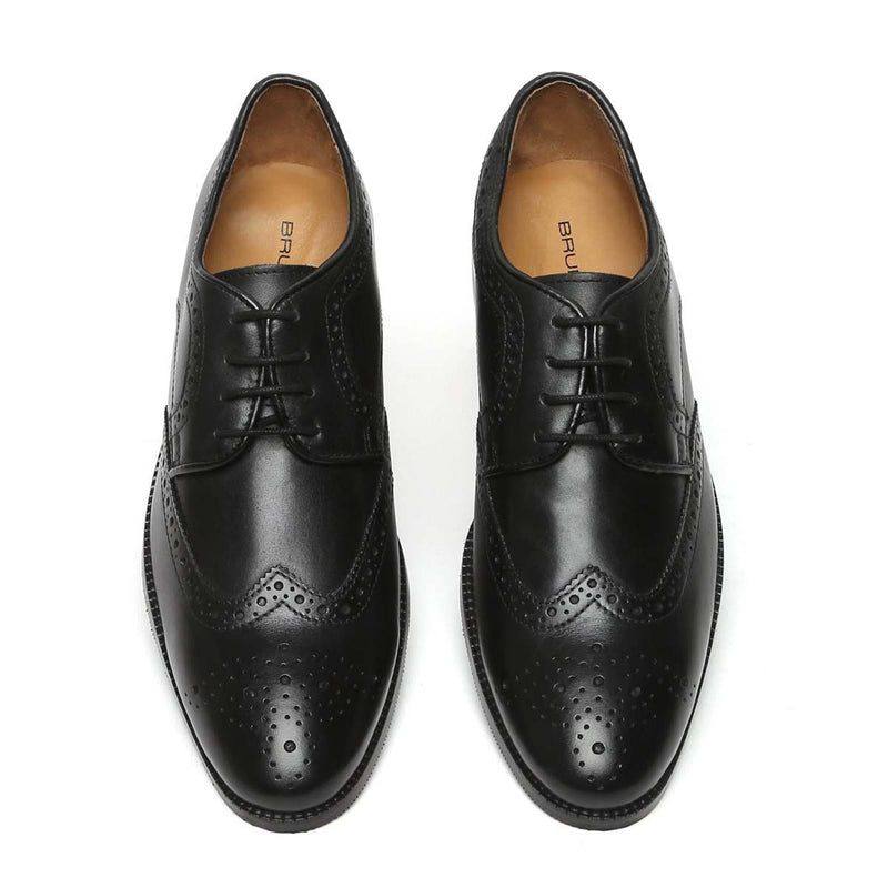 Black Leather Hand Finished Full Brogue Wingtip Formal Shoes By Brune