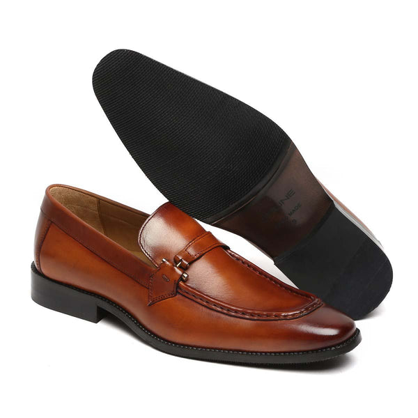 Tan Leather Apron Toe Bit Loafers By Brune