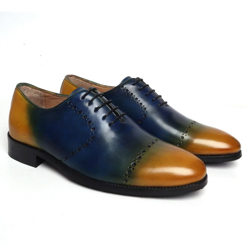 Blue and Yellow Genuine Leather Brogue/Oxford By Brune