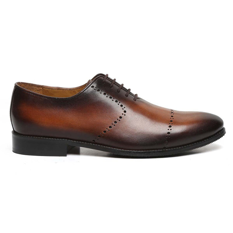 Tan Burnished Leather Quarter Brogue Oxford Formal Shoes By Brune