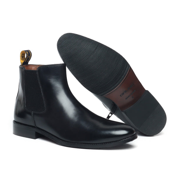 Black Leather Hand Made With Side Zipper Clousre Chelsea Boots For Men By Brune
