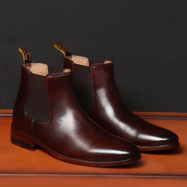 Brown Leather Hand Made With Side Zipper Clousre Chelsea Boots For Men By Brune