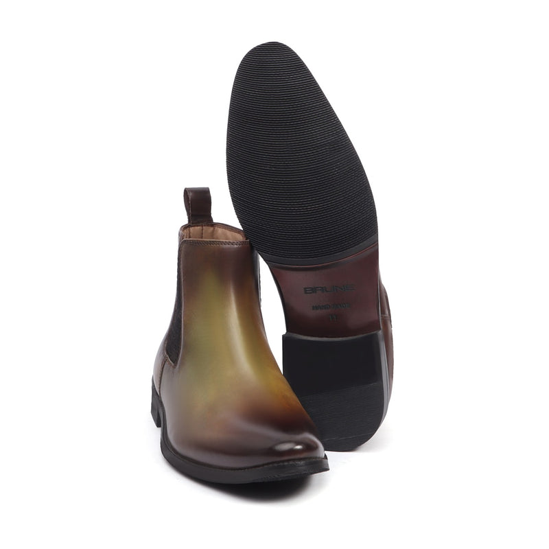 Olive Green Leather Hand Made Chelsea Boots For Men By Brune