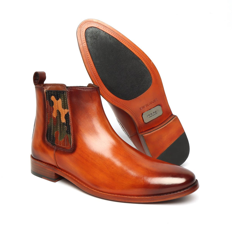 Orangish Tan Leather Camo Styled Hand Made Chelsea Boots For Men By Brune