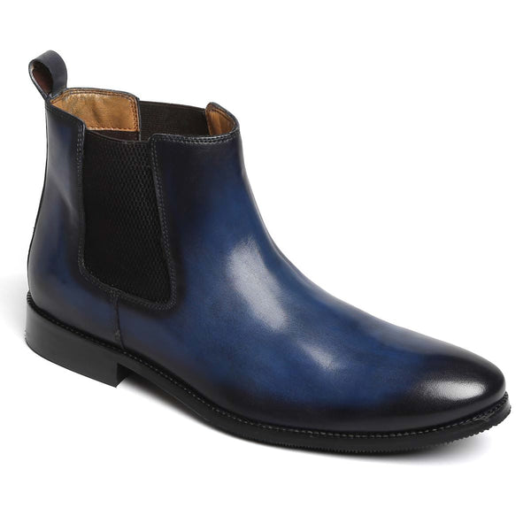 Blue Genuine Leather Boots By Brune