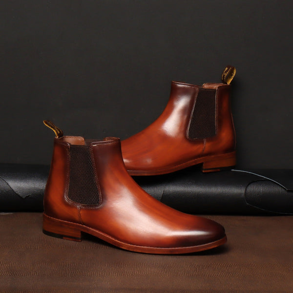 Tan Leather With Leather Sole Hand Made Chelsea Boots For Men By Brune