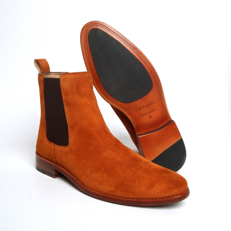 Orangish Tan Suede Leather Hand Made Chelsea Boots For Men By Brune