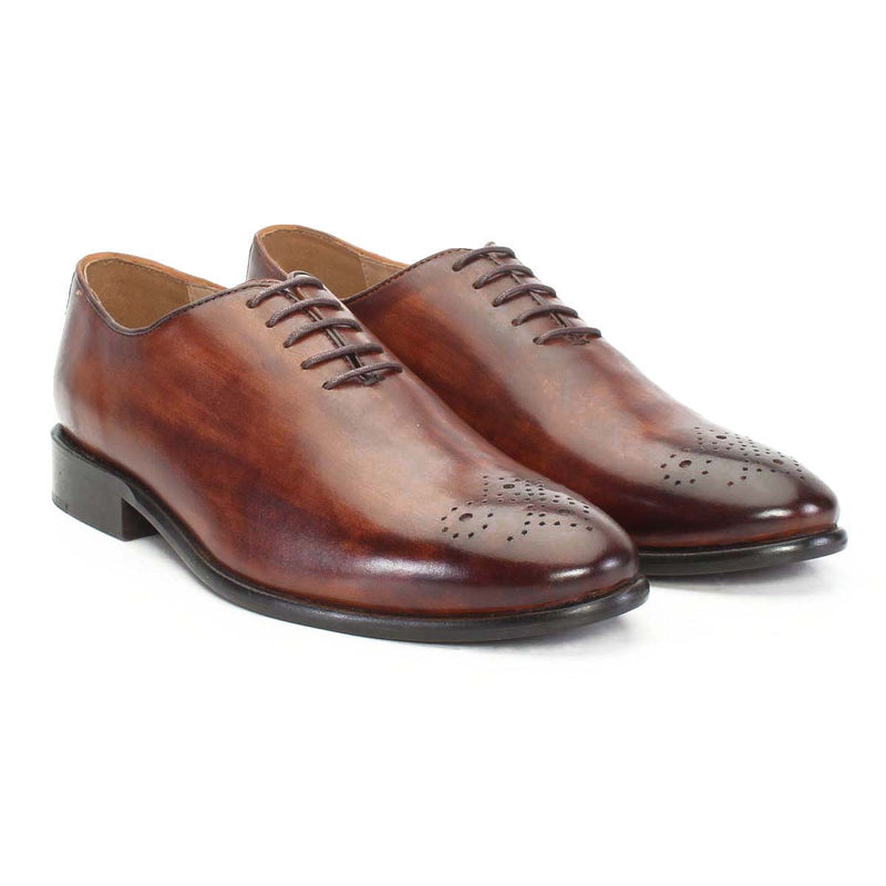 Brown Hand Finished Medallion Toe Oxford Formal Shoes By Brune